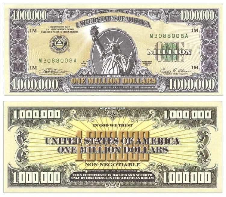 Гражданин США хотел заплатить за покупки купюрой номиналом в 1 млн ...