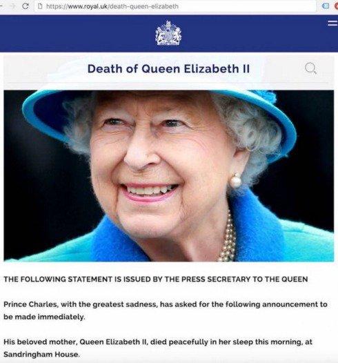 Британская королева ЕлизаветаII погибла