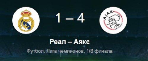 «Аякс» сенсационно разгромил «Реал» в гостях и выбил его из Лиги чемпионов